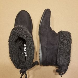 Report black moccasin style boot